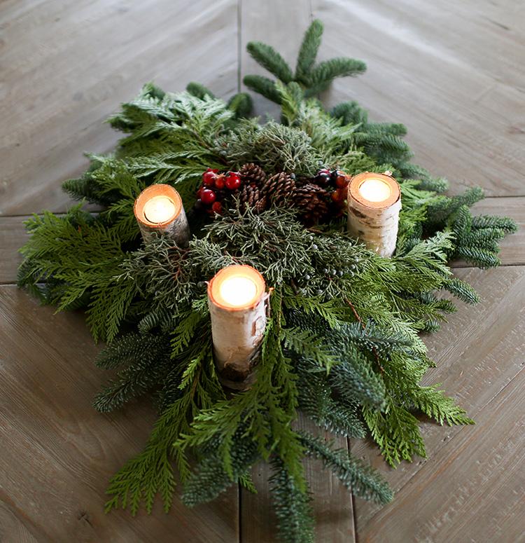 Christmas Greenery Centerpieces.Greenery Centerpiece