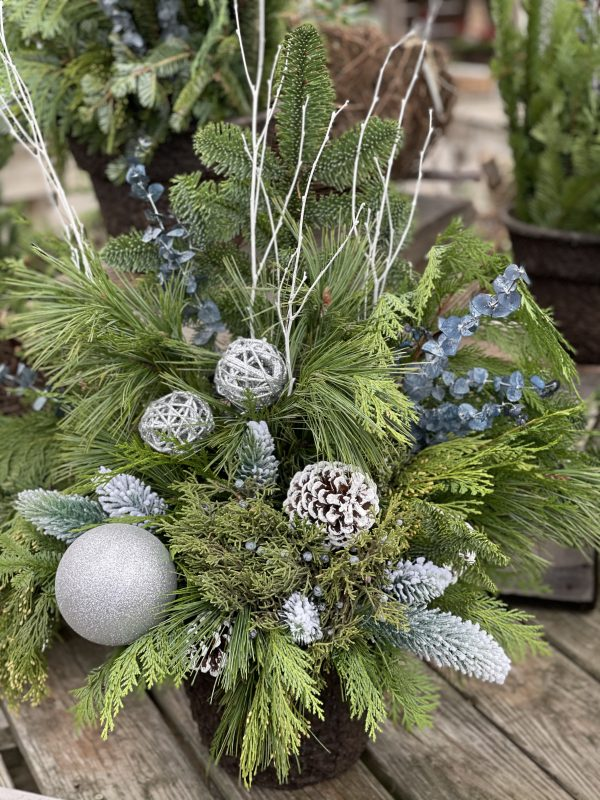 Silver Holiday Porch Pot